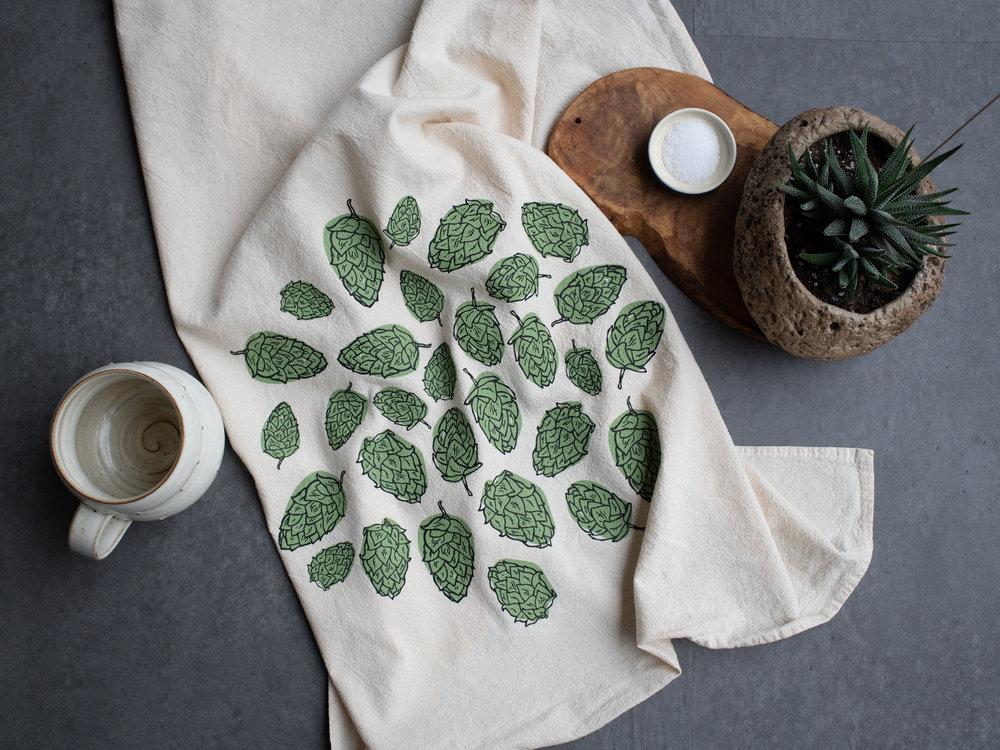 "KTHOPS01 Hops Tea/Kitchen Towel $7 - Min: 2pcs Large two color screen print on 28x28"" towel.  100% cotton flour sack, USA MADE."