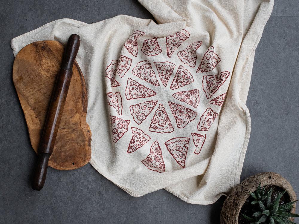 "KTPIZZA01 Pizza Tea/Kitchen Towel $7 - Min. 2pcs Large one color screen print on 28x28"" towel.  100% cotton flour sack, USA MADE."
