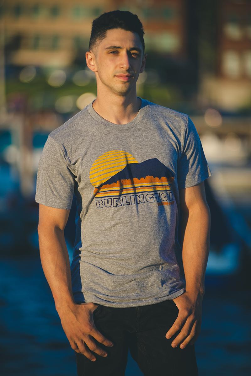 MSBTV01 Burlington Vermont Sunset-$13  Heather grey tri-Blend Unisex t-shirt  Three color screenprint  Sizes: Xs-XXL  USA MADE