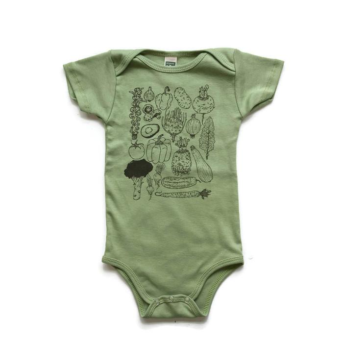 BBVEG02 - Light Green Veggie Baby Bodysuit $12  Sizes: 3-6m, 6-12m, 12-18m, 18-24m USA MADE - Organic Cotton