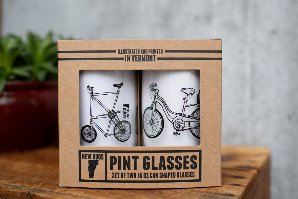 GSBIKE01 : Min. 2 sets : $12 per set BIKES Design glass set Includes two 16oz can shaped pint glasses in a gift box.  USA MADE