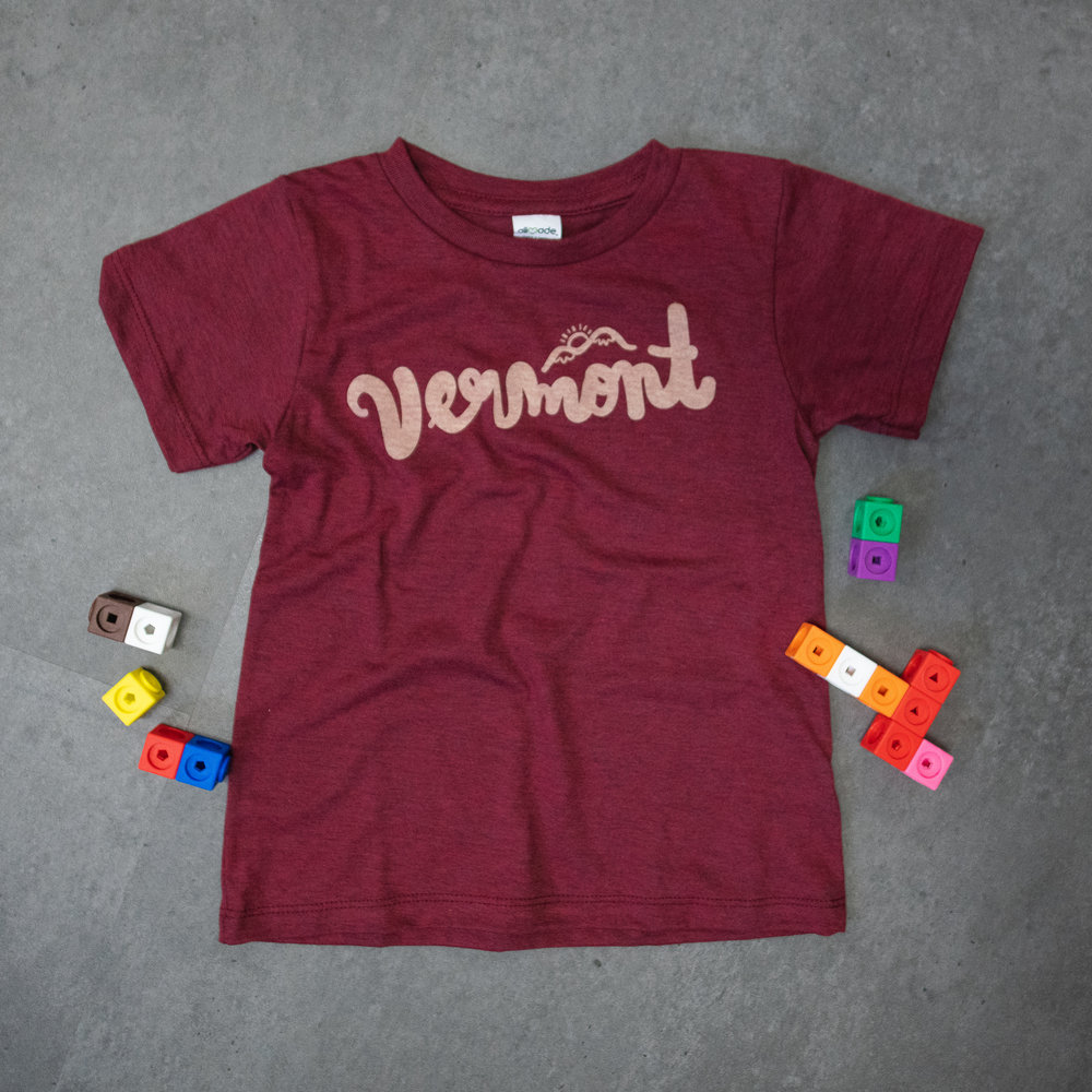 YSSC01 Toddler and Youth Script tee - $12  Tri Blend Wine color tee - Imported/ethically made  Sizes: 2T, 4T, 6Y, 8Y, 10Y, 12Y