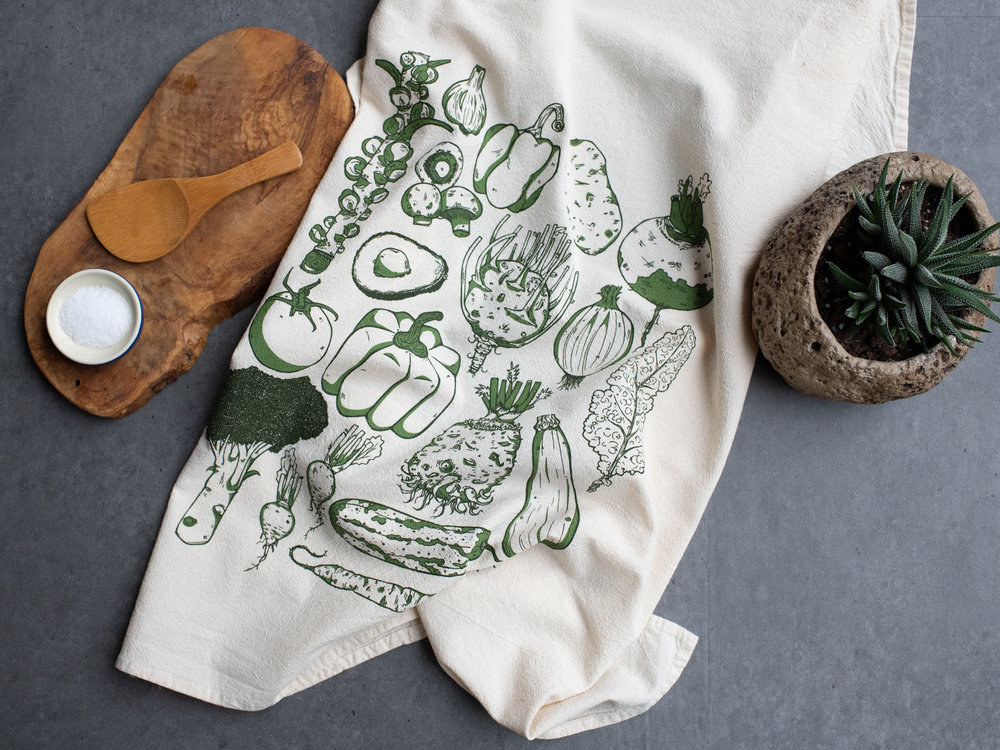 "KTVEG01 - GREEN Vegetables Large Kitchen Towel $7 - Min 2pcs Large two color screen print on 28""x28"""" towel. 100% cotton flour sack, USA MADE."