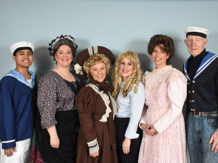 Cast of H.M.S. PInafore: Neil Flores, Wendy Falconer, Suzanne Rossini, Melissa Anderson, Brett Kroeger, and Guy Stretton