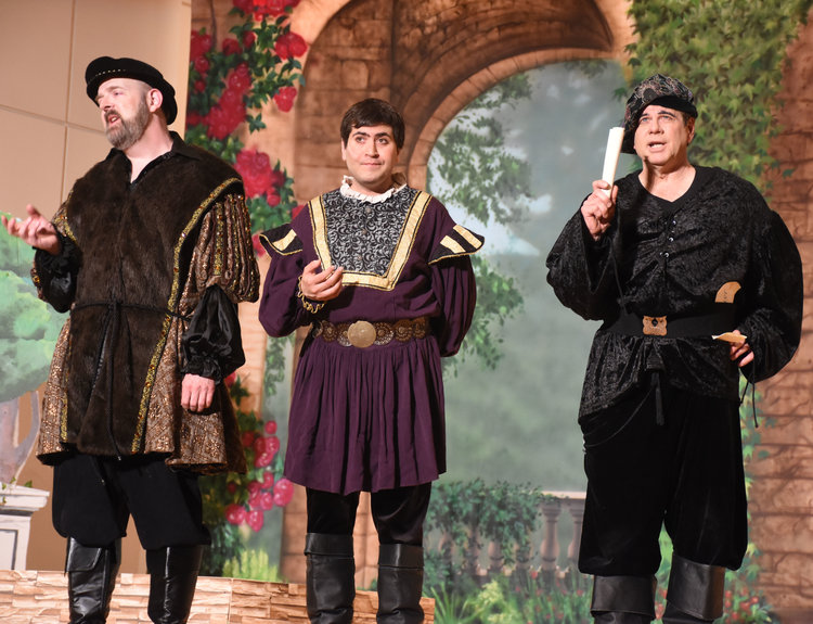 "Chris Hetherington as Poobà, Alan Briones as Piccia Tuccia, and Frank Sisson as Coco sing the trio ""I am so proud..."" in Act I"