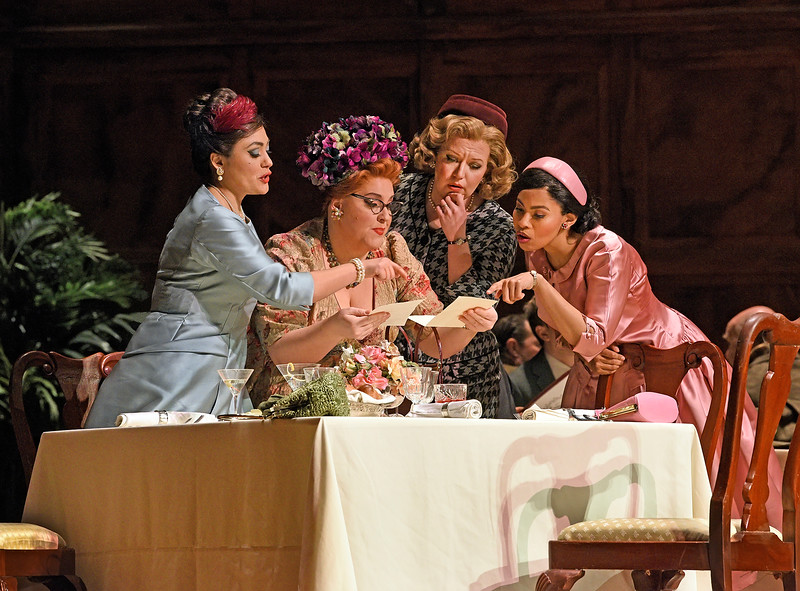 Alice Ford, Mistress Quickly, Meg Page, and Nannetta compare letters from Falstaff