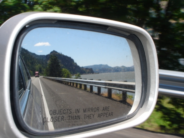 You've no doubt seen these words inscribed on your rear view mirror:   Objects in mirror are closer than they appear.    How true this is when it comes to your relationship with your daughter. Whether she is in the car [of life] with you or in a car following behind yours, she is closely watching and listening and taking note.