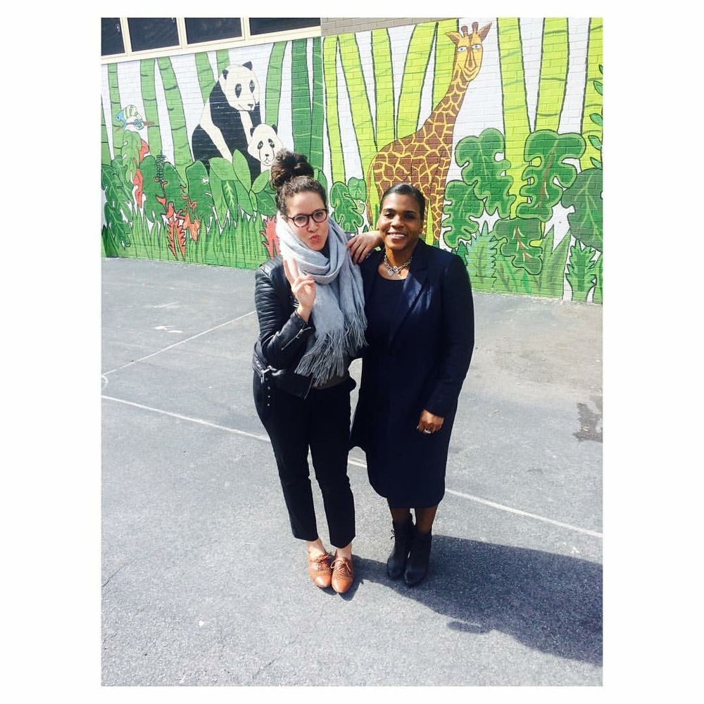 Me and Principal Lena Gates in the PS5 courtyard -- plotting and scheming the Spoke Context workshop. #blackgirlmagic.