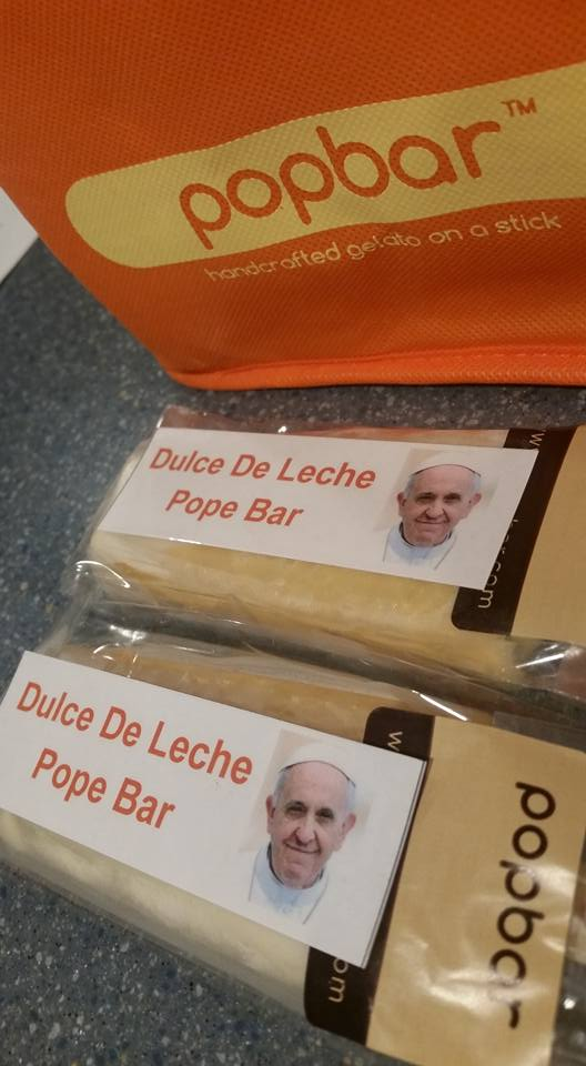 """Popbar-Handcrafted Gelato on a Stick Announces the Debut of the ""Pope Bar"" at its West Village Location to Celebrate Pope Francis's NYC Visit,"" September 22, 2015"
