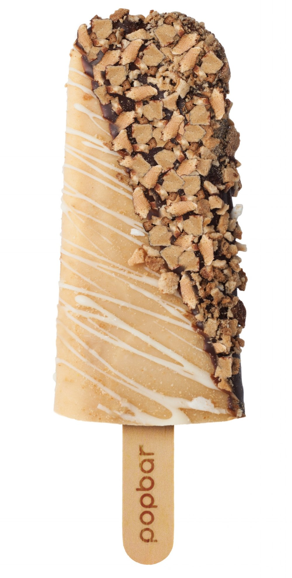 peanut butter with waffle cone and white chocolate drizzle