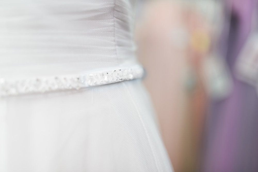 shot of wedding gown detail
