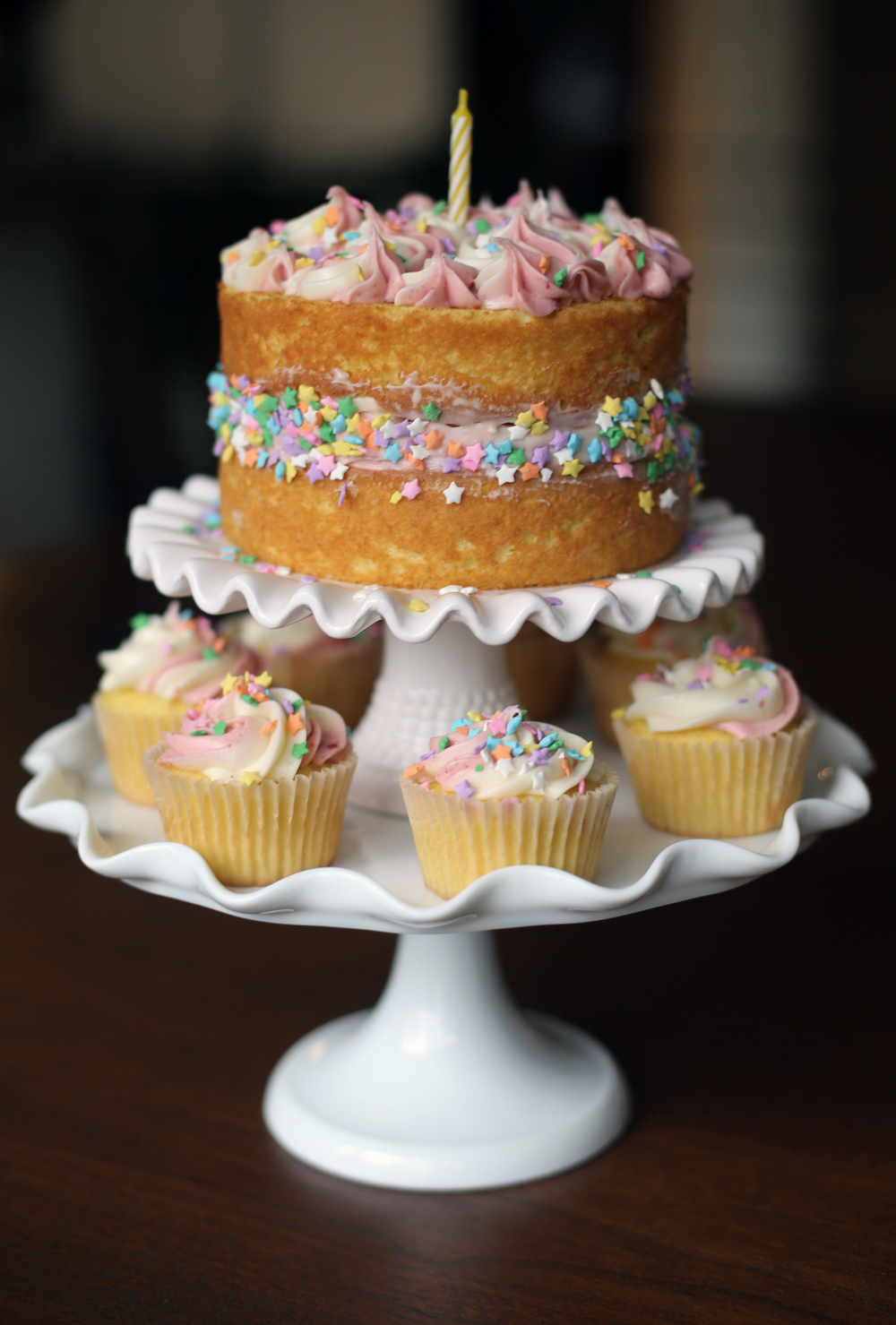 Jessica Bakes Lemon Cake with Strawberry Cream Cheese Frosting