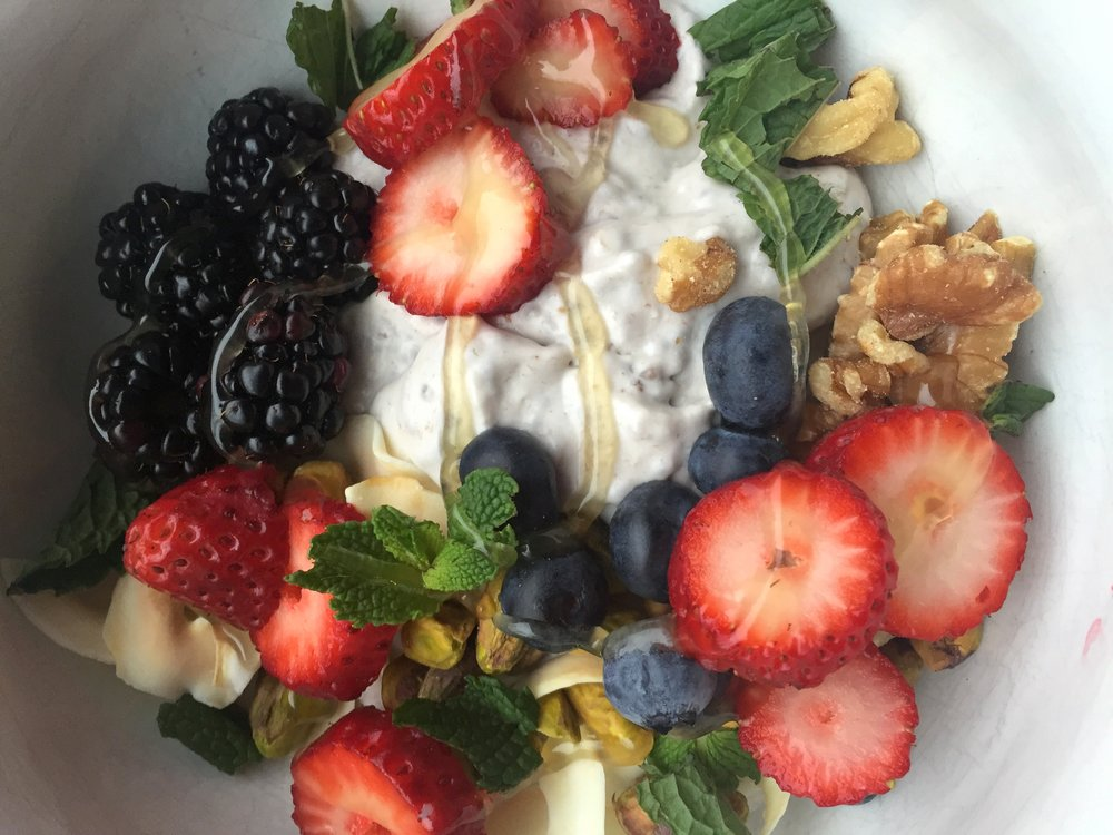 Vegan Banana Coconut and Chia Seed Pudding with fresh fruit and nuts