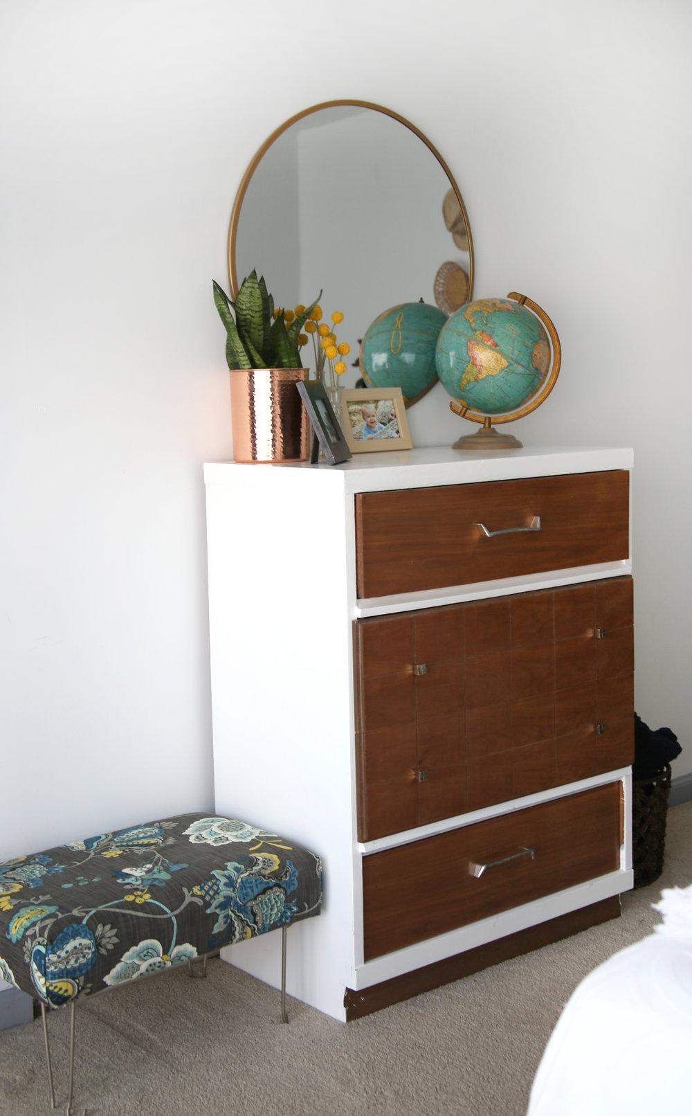 MCM Dresser with Globe and Round Mirror
