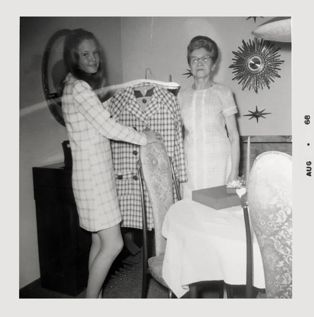 A photo of my mom posing with her grandma at my mom's high school graduation party. Eva handmade this suit as a gift for my mom (and also taught her how to sew! And yes! I know I look like a twin of my mom!
