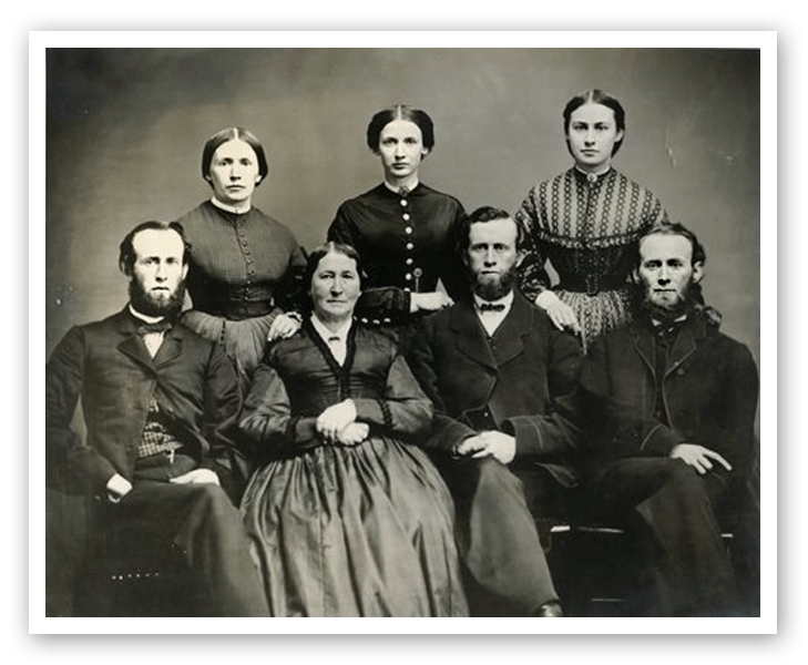 Front Row: David King Jr, Almena Caldwell King, Samuel Nobel King, Robert Quigley King Top Row: Mary Elizabeth King Gotwald, Sarah Jane King, Almena King