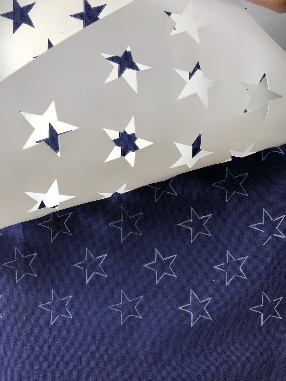 Trace Stars onto Blue Union Fabric