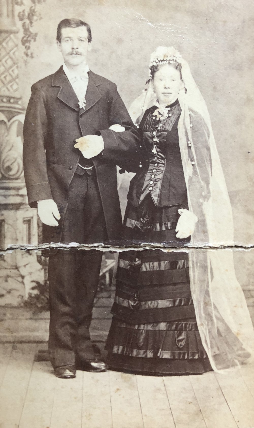 Carl Stoppenhagen and Wilhelmina (Minna) Kramer post for their wedding portrait in 1880.