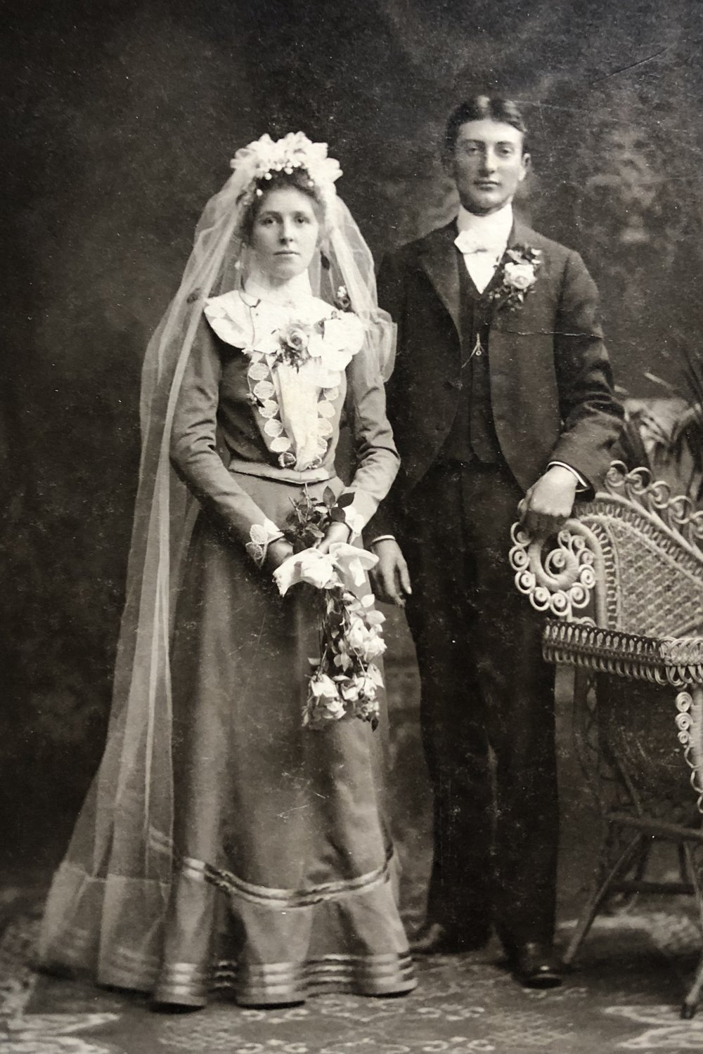 Mary Katherine Stoppenhagen and Charles Nicholas Werling pose for their wedding portrait in 1902.