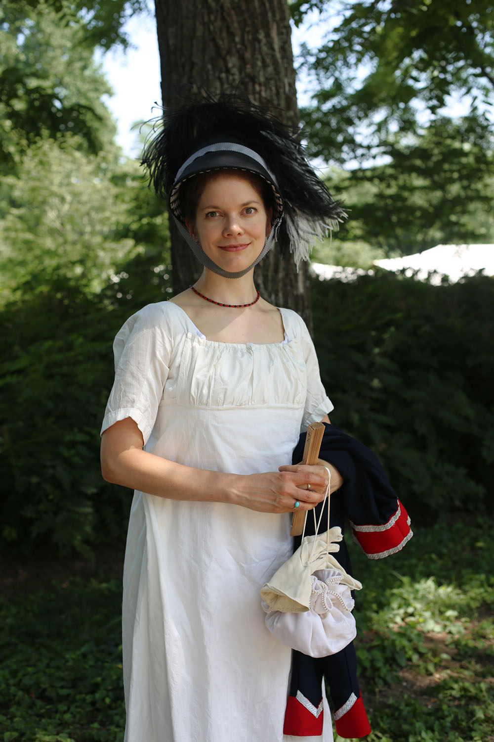 JAF+white+with+military+jacket+and+hat+1 - Jane Austen Pageant at Locust Grove 2018