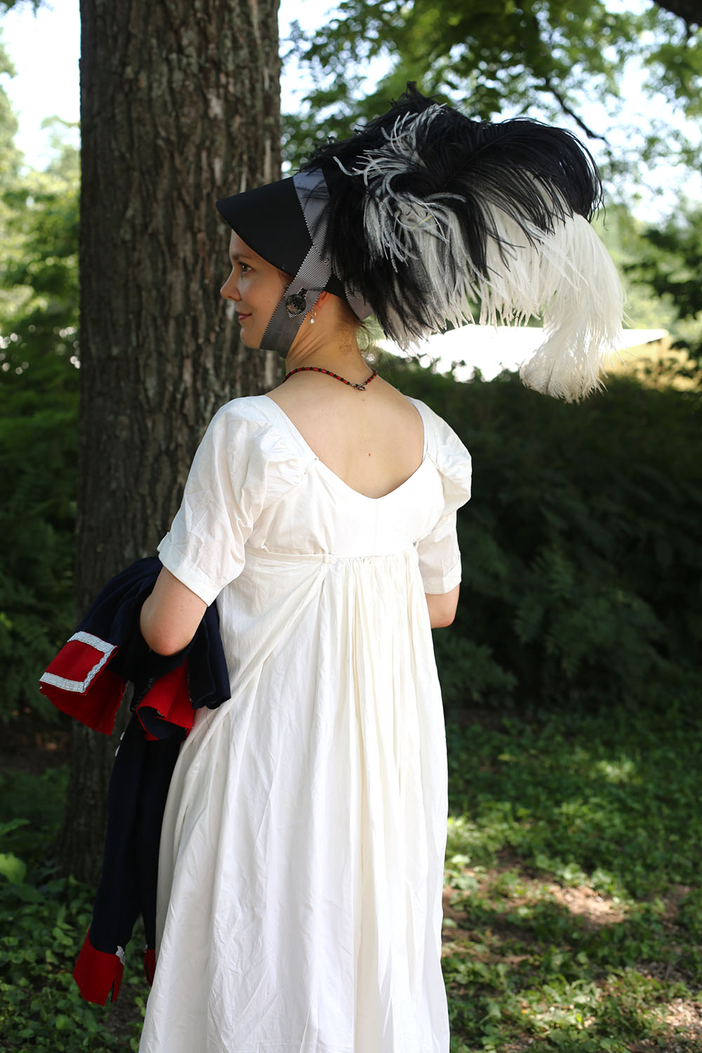 JAF+white+dress+with+military+jacket+and+hat+2 - Jane Austen Pageant at Locust Grove 2018