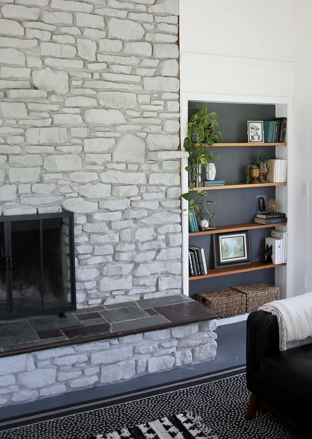 Fireplace and Bookcase