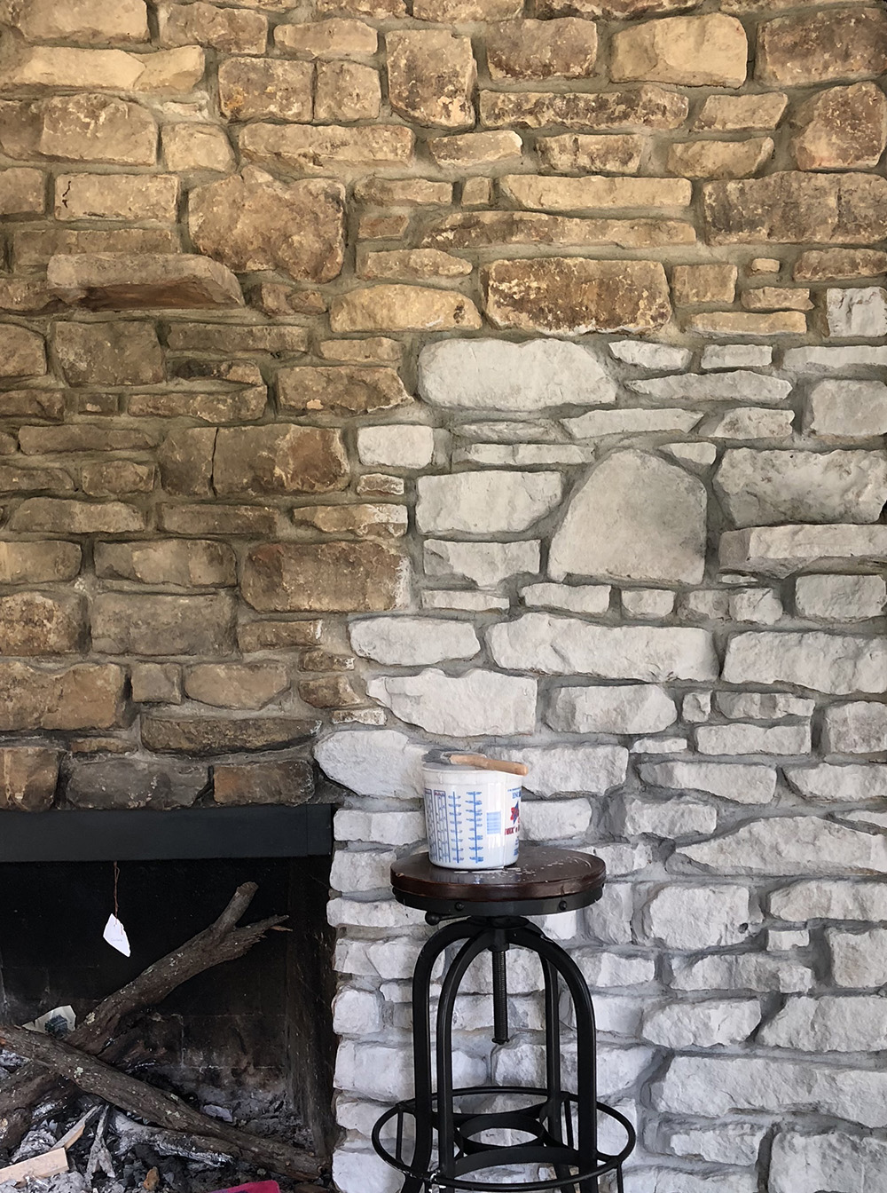 White Washing Fireplace