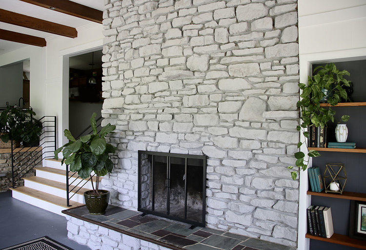 White Washed Stone Fireplace