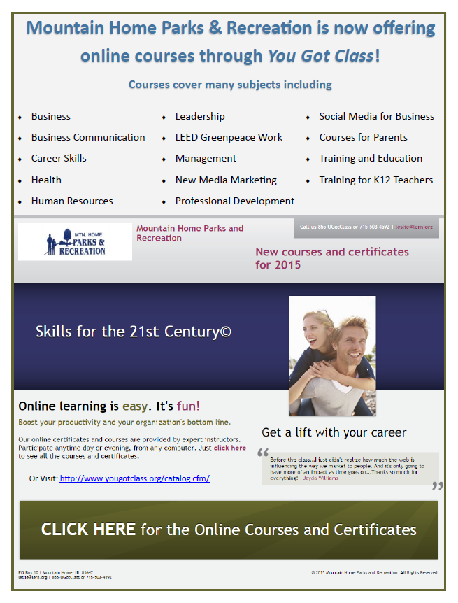 Click on the image above to check out the new continuing education classes offered through a partnership with Parks & Rec and U Got Class!