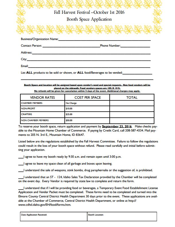 Click  HERE  to get a printable version of the vendor application.