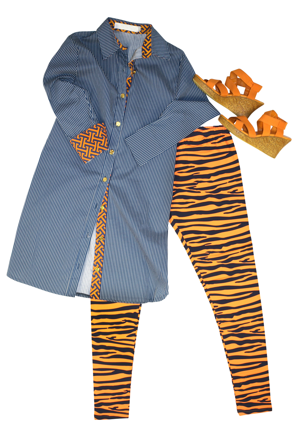 tiger legs with blue striped top.jpg