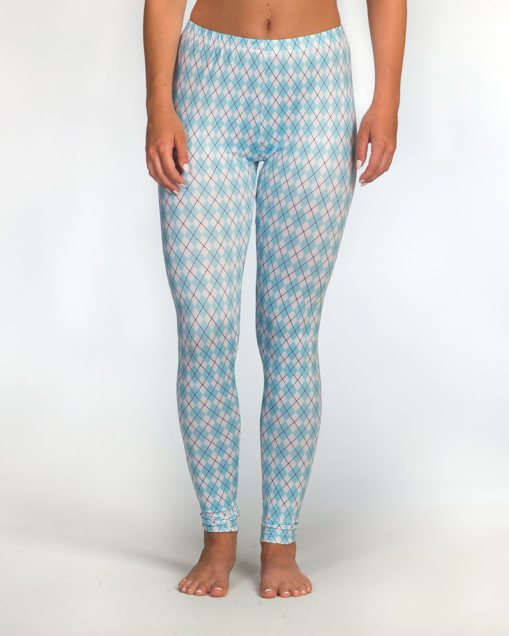 """Madison is 5' 6"""" tall, has 31"""" hips, and is rockin' a size S in our UNC Argyle Leggings."""
