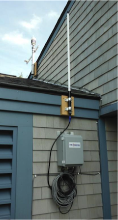 Weather station mounted on Jordan Pond House.