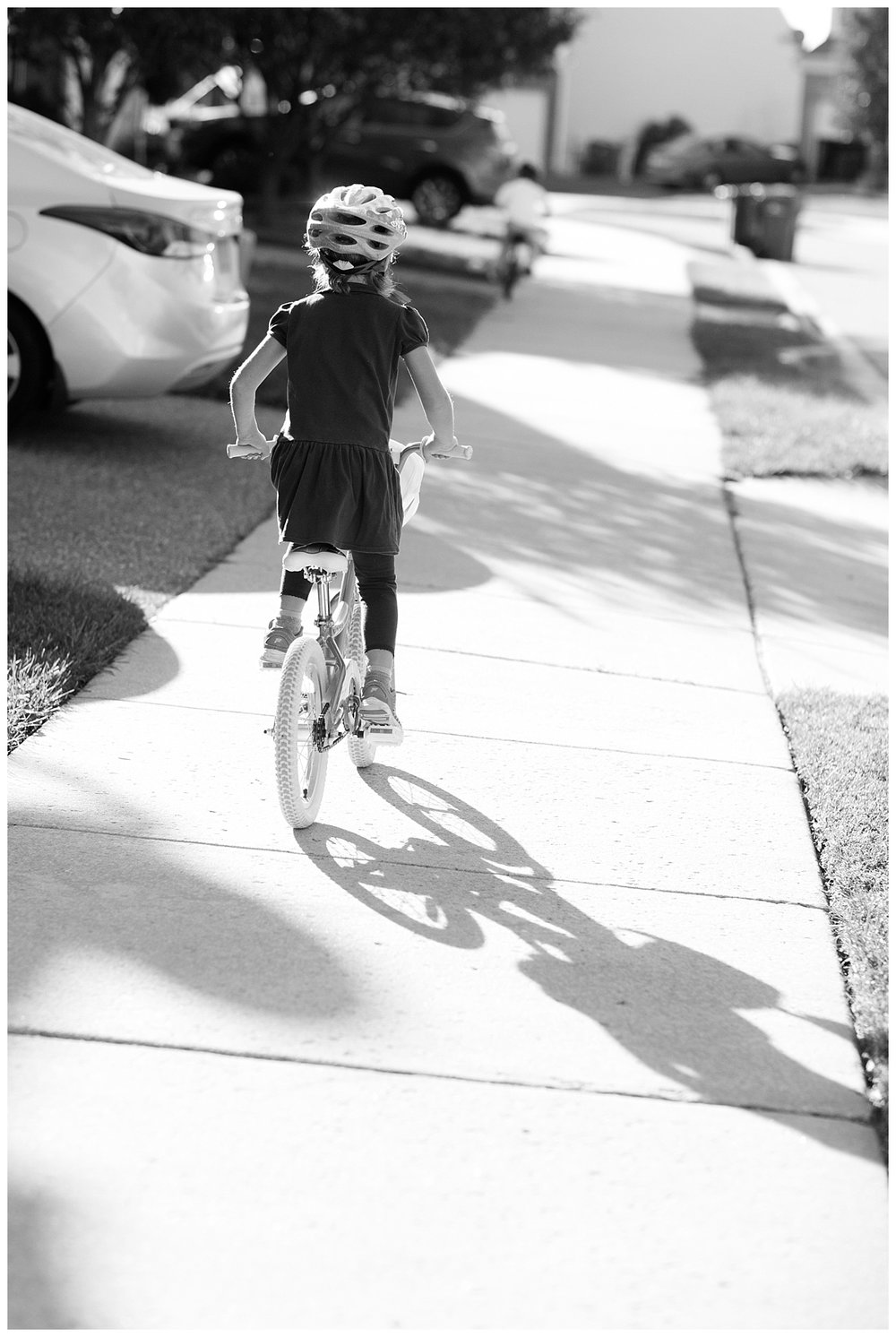 "Off we go...this girl came home one day a week ago and said, ""Mom, take these training wheels off,"" and she never looked back!"