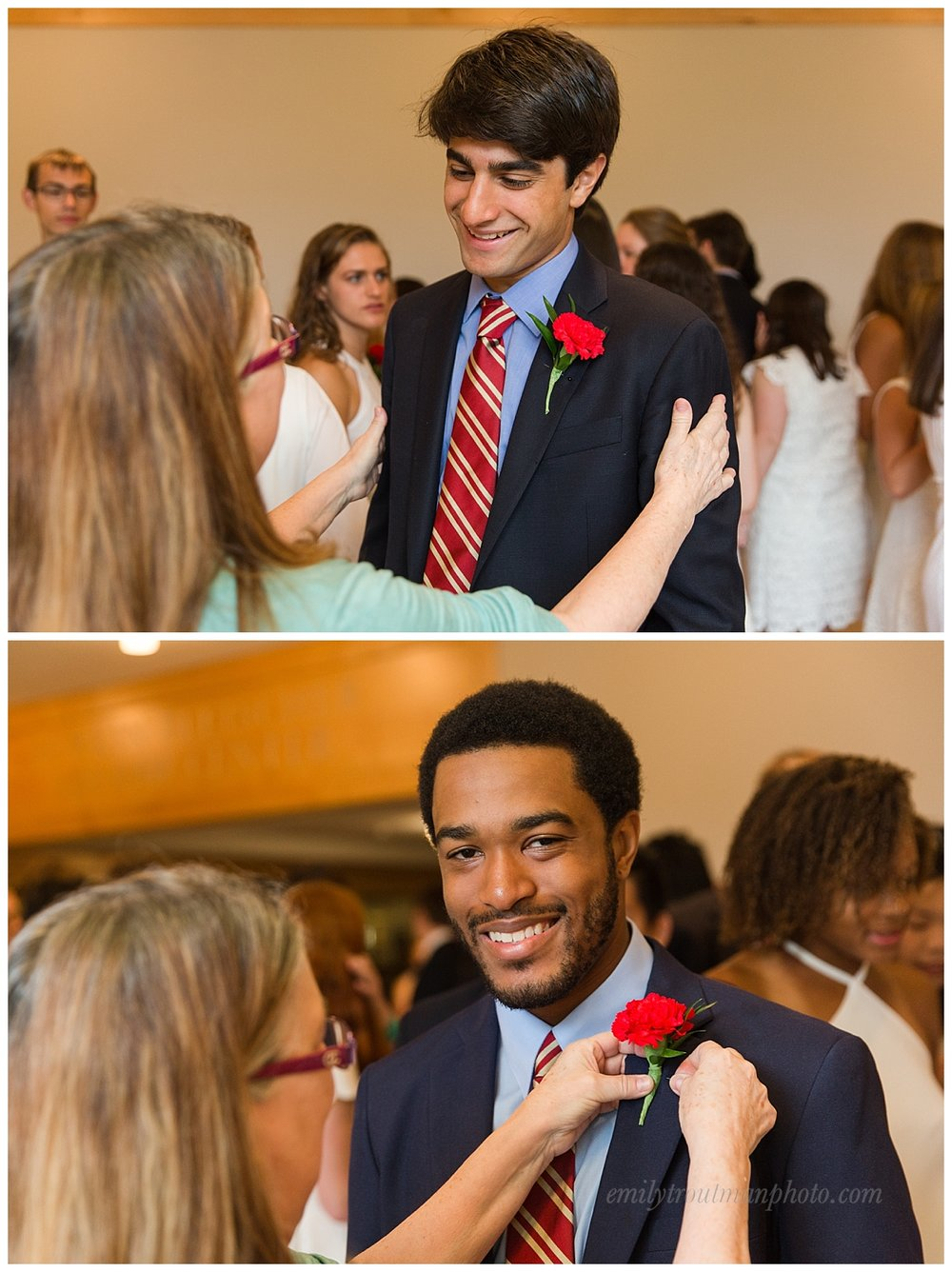 The tradition of pinning a red carnation on the gentlemen has been a long standing one!