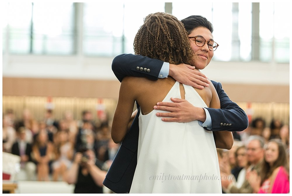 School co-Presidents Francis Alber deFrancis Kigawa and Jasmine Nicole Southerland share an embrace!