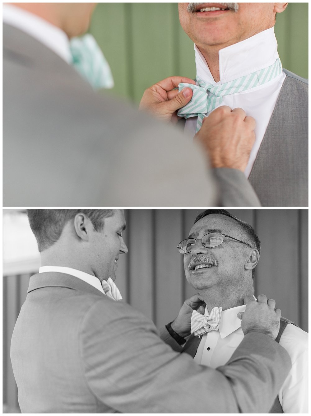 Groom tying his dad's bowtie with a smile. A sweet and memorable moment for both of them I am sure!