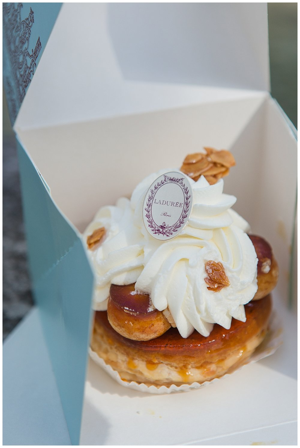 A delicious and fancy Laudree cream puff before I consumed it in its entirety!