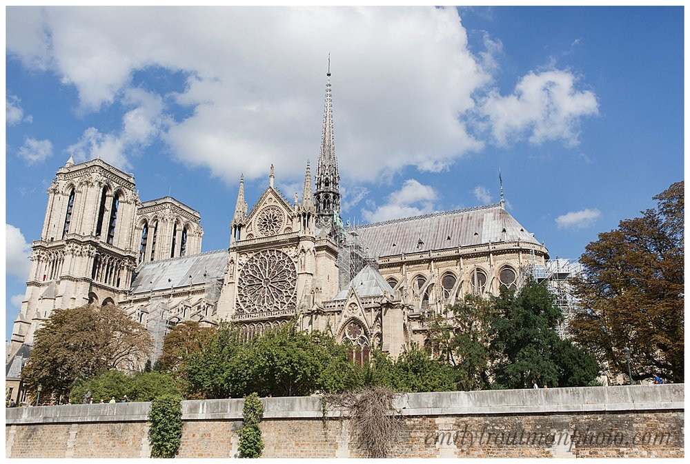 Side view of Notre Dame from down on the bank of the Siene