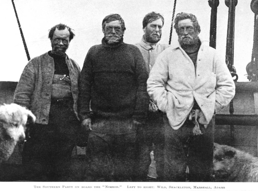 These four came within 180 km (about 111 miles) of reaching the South Pole in 1908. Shackleton's next expedition, intended to be the first traverse of Antarctica, instead turned into an epic survival tale as he lost his ship, floated adrift on pack ice, then marooned on an island, and finally rescued by sailing a rowboat to South Georgia Island. And didn't loose a single crewman in the doing.