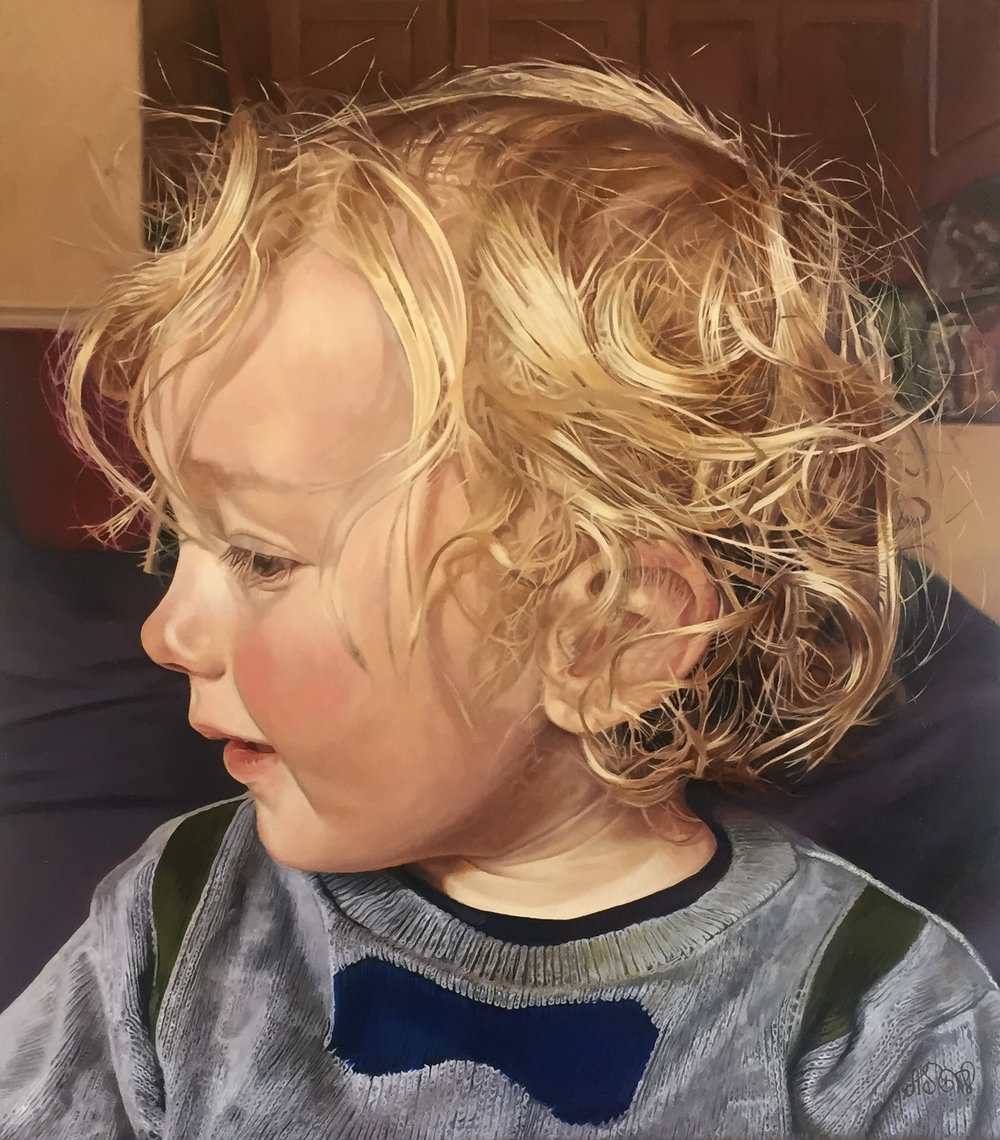 'Alfie' Scottish Portrait Award in Fine Art, Third Prize, 2018  Oil on panel. 34x40cm