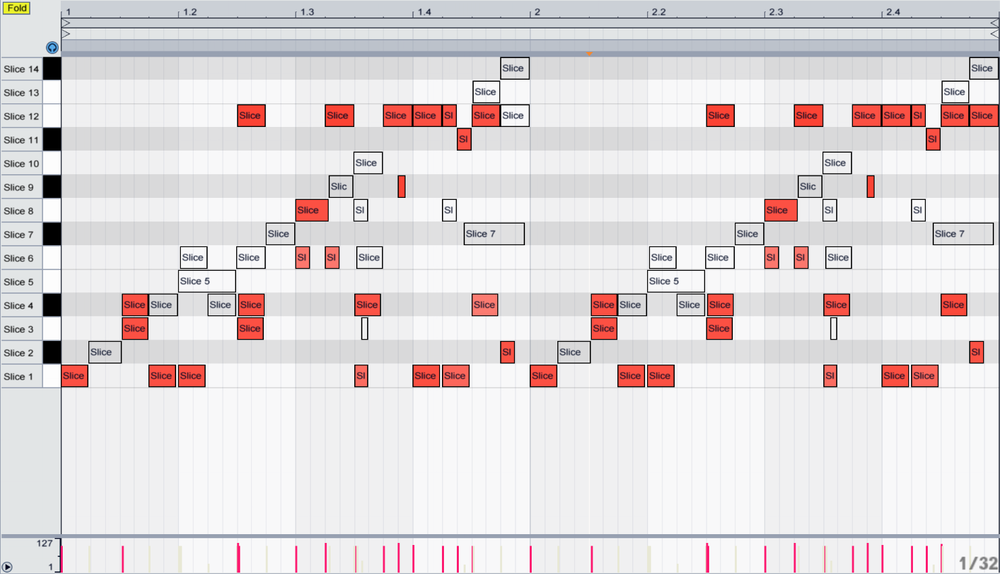 Here are how the drums were re-arranged to create the fills you hear in the groove above.