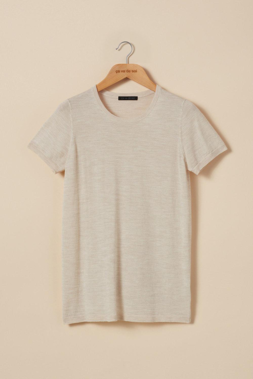 Extra-fine merino wool short-sleeve t-shirt sweater