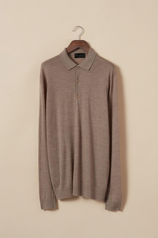 Extra-fine merino wool polo sweater
