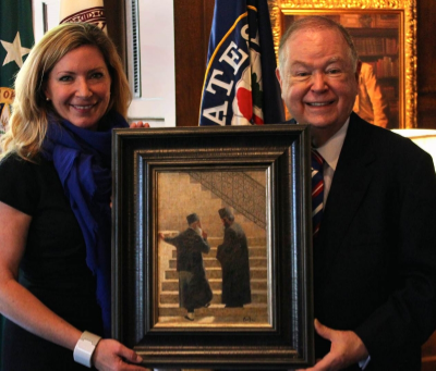 President David L. Boren and Nicole Poole
