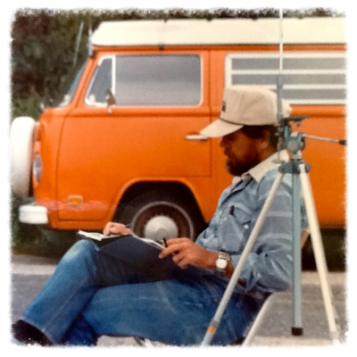 "O. Gail Poole and his beloved '73 VW, ""Van Gogh."""