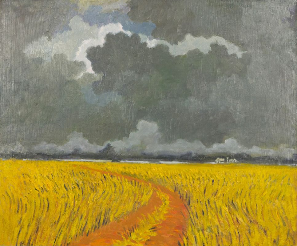 """Bradley Wheat Fields and Storm Clouds,"" by O. Gail Poole 20"" x 24"" Oil on Board"