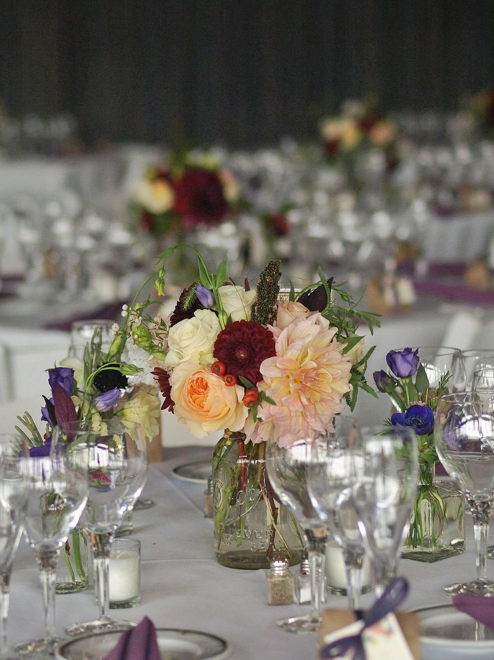 Oreonta house woodstock wedding mason jar centerpiece with garden rose dahlia and wildflowers 1.jpg