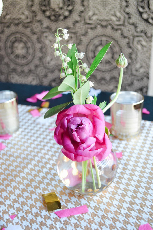 Pink radunculus bud vase arrangement.  Rosehip Social, Brooklyn, NY.