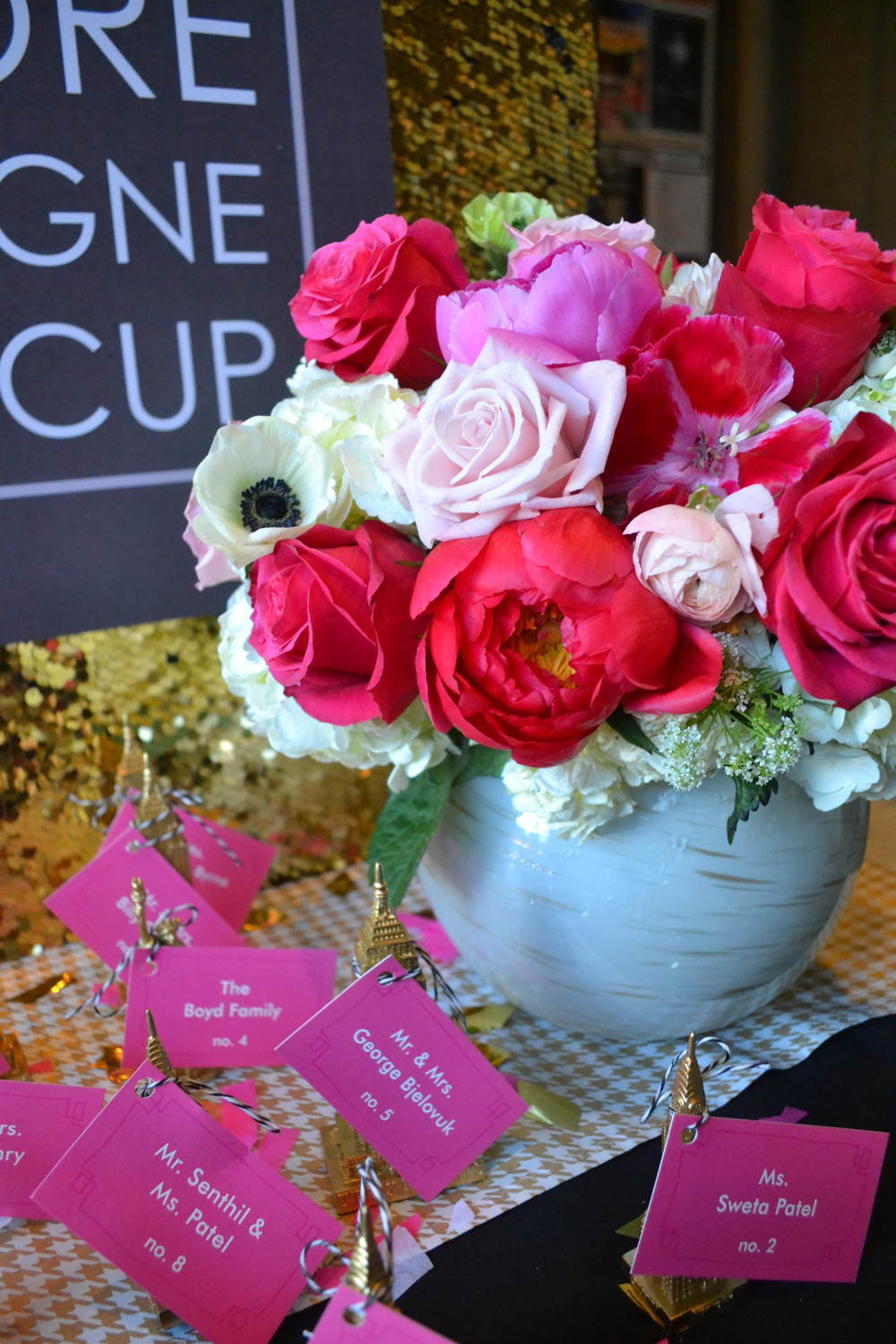 Pink, white and red arrangement.  Rosehip Social, Brooklyn, NY.